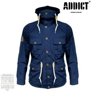 Addict Mens Lightweight Slim Fit Navy Mountain Range Hooded Jacket S