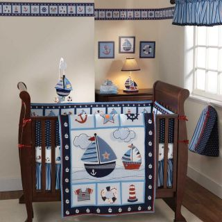 Boat Themed 4pc Baby Boy Nursery Water Crib Bedding Set Collection