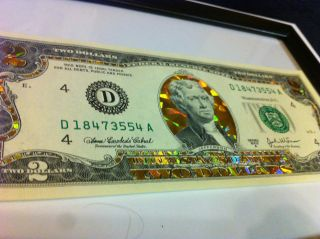 TWO$  22 K GOLD 2 DOLLAR BILL HOLOGRAM COLORIZED LEGAL NOTE  GOLD
