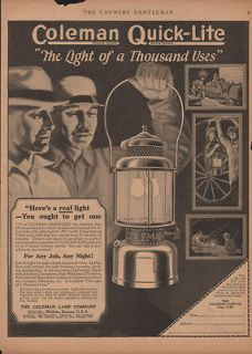 1923 COLEMAN LAMP QUICK LITE CAMPING HUNTING FISH GAS WICHITA FARM