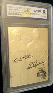 BABE RUTH/LOU GEHRIG 70TH ANNIVERSARY SIGNATURE 23 KT GOLD WCG GEM MT