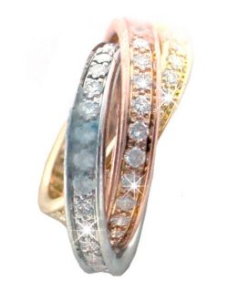Cartier, Trinity, Tri Color, Diamond, Gold Ring #8715