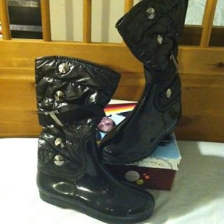 EDDIE MARC KIDS Black Fashion Rain/Winter Boots Girls SZ 1 See Pix
