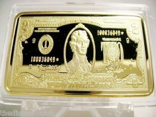 24K GOLD Layered $2 Two Dollar Bill 1oz Troy Ounce Bar Bullion