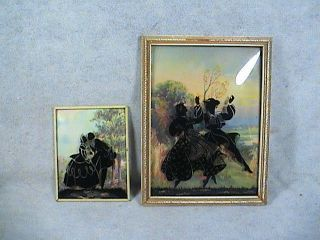 Victorian Silhouette pictures convex bubble glass reverse painting