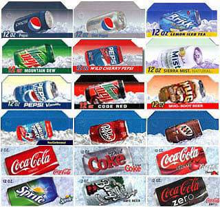 18 Flavor strips for soda vending machines, Coke, Pepsi, fits Dixie
