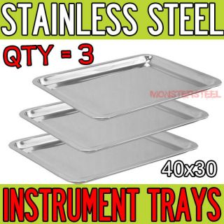 LOT 3 15.5 x 11.5 Stainless Steel Tray Medical Tattoo Dental Piercing