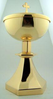 Simple 6 Sided 12 oz Communion Ciborium W Paten Set Gold Gild Altar