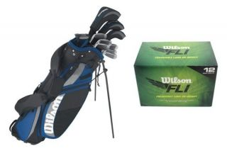 Complete RH Mens Golf Club Set w/ Stand Bag + (12) FLI Golf Balls