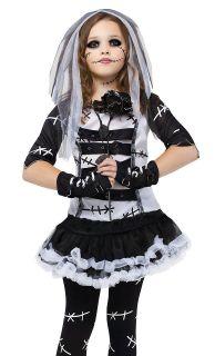 Kids Girls Goth Rag Doll Corpse Bride Halloween Costume Medium