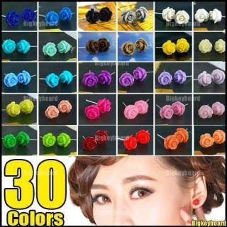 Lovely Sweet Carved Rose Flower Ear Stud Earrings 30 Colors