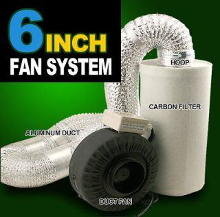 New MTN Hydroponics 6 Inline Duct Tube Exhaust Fan Carbon Filter Kit