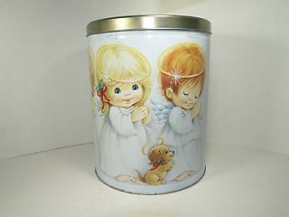 Little Angels HOUSTON HARVEST popcorn tin~trio of ANGELS~w/angel