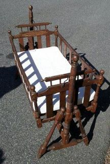 Vintage Rocking Cradle With Stand, Bumper and Sheet