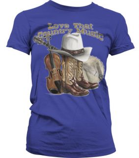 Love That Country Music Boots Hat Violin Girls T shirt