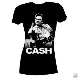 New Johnny Cash Folsom Concert Flip Middle Finger Ladies Women T shirt