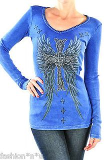CRYSTAL VINTAGE CROSS ANGEL WINGS TATTOO THERMAL T SHIRT XL & ED HARDY