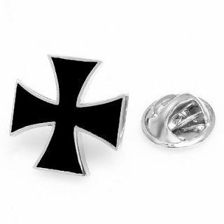 IRON CROSS BLACK ENAMEL LAPEL PIN BADGE HAT PIN TIE TACK PIN BROOCH