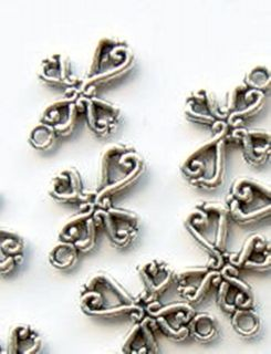 25 Antique Silver Latin Cross Charms for Favours Wedding Christening