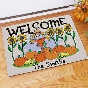 Scarecrow Doormat Fall Pumpkin Welcome Doormat Family Name Door Mat
