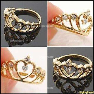 Lovely Golden Tone Love Heart Crystal Rhinestones Crown Ring