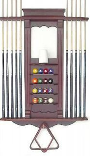 10 Pool Cue   Billiard Stick and Ball Wall Rack Mahogany Finish Made