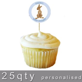 Cupcake Tops 24 Edible Toppers25 Picks Baby Shower Boy Kangaroo