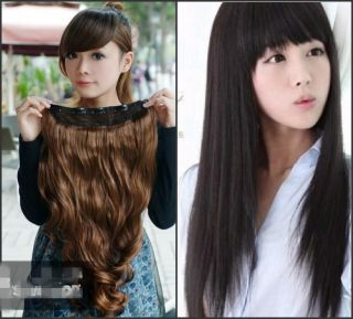 Women long Curl/Curly/Wavy hair extension 5 clips on 3 Colors 6 Style