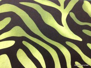 Green & Black Zebra Stripes Striped Stripe Skin Print Curtain Valance