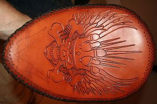 Hand Tooled Custom Chopper Bobber Leather Solo Seat West Coast Chopper