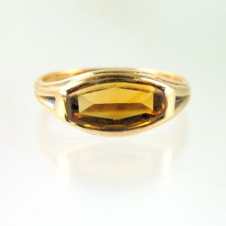 Antique 10k Gold Citrine Signet Ring Unusual Cut Stone Flat Table