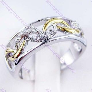 New white sapphire ladys 10KT white/yellow Gold Filled Ring #8 free