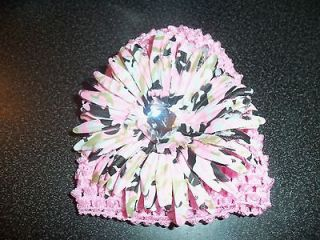 CROCHET HAT pink CAMO GERBER DAISY flower hair bow CAMOUFLAGE daddys