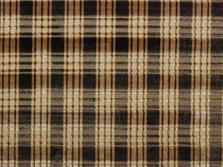 HIGH END Brown Tan Velvet Plaid Drapery Upholstery Fabric 1/2 Yd