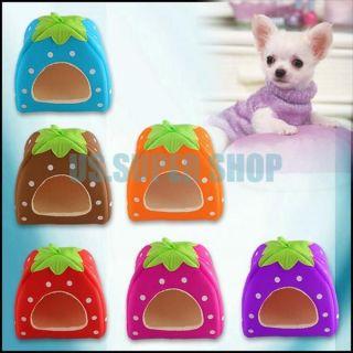 Cute Strawberry Sponge Pet Cat Dog House Kennel Doggy Warm Cushion