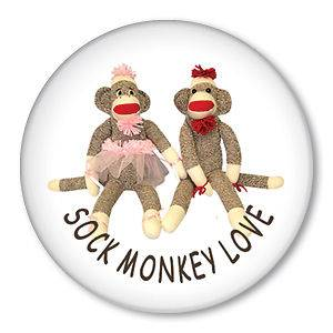 SOCK MONKEY LOVE pin button badge red heel doll couple