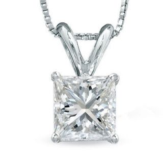 50 Ct Princess Cut 14K White Gold Diamond Pendant with 18 White