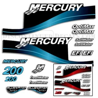 Mercury 200hp Outboard Decal Kit Blue or Red Available