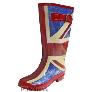 Union Jack Flag Print Rain Festival Wellies Wellington High Boots