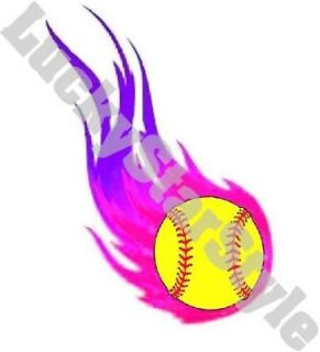 Nail Decals Set of 20   Pink Flaming Yellow Softball