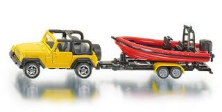 Siku Super 1658 Jeep Wrangler with Motor Boat and Trailer Model
