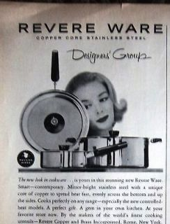 1960 Revere Ware Copper Stainless Steel Designers Pots and Pans Ad