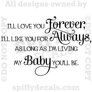 YOU FOREVER Nursery Baby Quote Vinyl Wall Decal Decor Letters Sticker