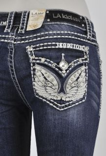 La Idol Boot Cut Jeans w White Fabric Wing Design Detailed w