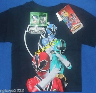 Power Rangers Samurai Red Blue Green T Shirt Size 4 Child New Glow in