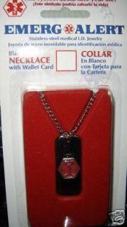 Emerg & Alert Diabetic Medical ID Necklace/Wallet Card.