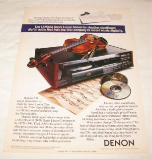 Denon DCD 1560 CD Player PRINT AD from 1990