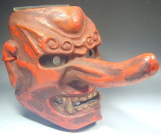 Mask #363 Wooden Red Demon Devil Buddhism Noh Wall Tattoo Art Vtg