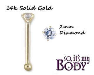 14k SOLID GOLD NOSE RING GENUINE REAL 2.5mm DIAMOND STUD 22g
