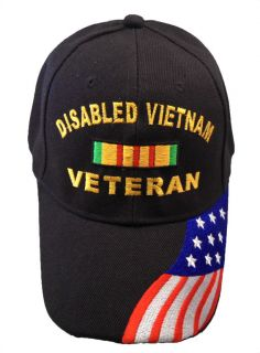 Disabled Vietnam Veteran Baseball Cap with American Flag. Embroidered